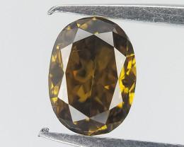 Bottle Green type Colour Diamond , Oval Brilliant Cut , 0.25 cts