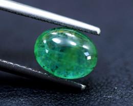 Emerald, 3.35 Carats Oval Natural Zambian Emerald Cabochon