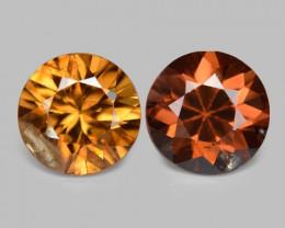 2.10 Cts 2pcs Natural Orange Red Zircon Loose Gemstone