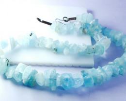 NR!! 388.00 CT Natural - Unheated Blue Aquamarine Beads String