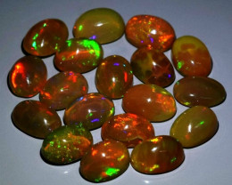 18pcs Lot 10.15 ct Oval Cabochon Natural Play-of-Color Crystal Opal, Ethiop