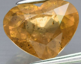 CERTIFICATE Incl.*Big! 4.20ct Heart Natural Unheated Greenish Yellow Sapphi