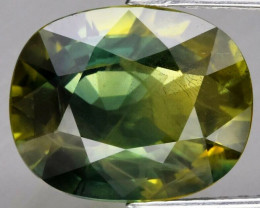 4.19ct 10.5x8.5mm Oval Natural Yellow & Green Sapphire Thailand