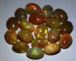 18pcs Lot 10.05ct t.w Oval Cabochon Natural Play-of-Color Crystal Opal, Eth
