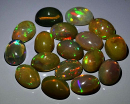 Calibrated 17pcs Lot 10.00ct t.w Oval Cab Natural Play-of-Color Crystal Opa