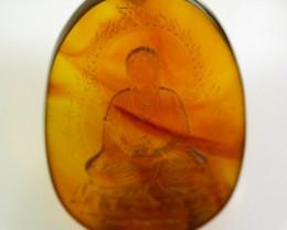 Myanmar Natural Amber Buddha Carving Pendant
