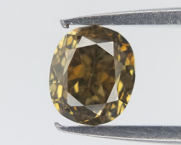 0.28 cts , Green Natural Diamond , Oval Cut Diamond