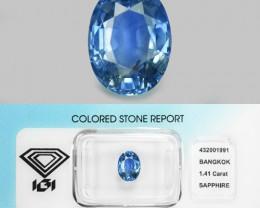 1.41 Cts IGI Ceritfied Natural Blue Sapphire Ceylon Loose Gemstone