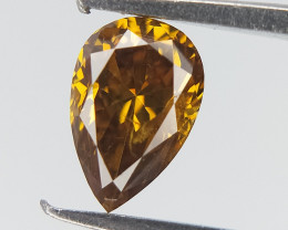 0.23 CT ,Deep Orangy Yellow Diamond , Fancy Color Diamond