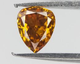 0.25 cts , Natural Orangy Yellow Diamond , Pear Brilliant Cut , Rare Fancy