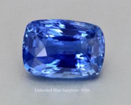 Unheated Fine Blue Sapphire - 9.56ct - Cushion - SriLanka