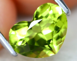 Peridot 1.29Ct VVS Heart Cut Natural Neon Green Color Peridot A0418