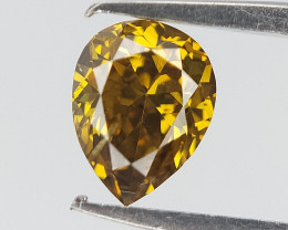 0.22 CTS , Pear Brilliant Diamond , Greenish Yellow Diamond