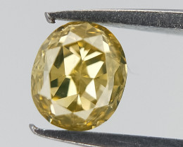 0.20 ct , Yellow Natural Diamond , Oval Brilliant Cut
