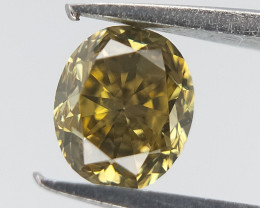 0.19 CTS , Green Diamond , Oval Brilliant Diamond