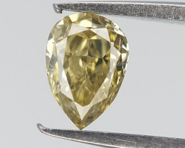 0.22 CTS , Yellow Diamond , Pear Brilliant Diamond