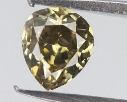0.21 CTS , Deep Green diamond , Pear Brilliant cut