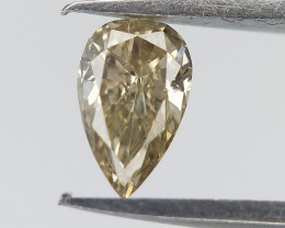 0.19 cts , Light Champagne Diamond , Pear Brilliant Cut
