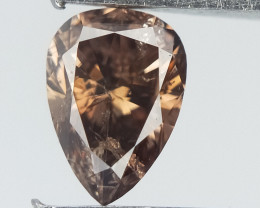 0.18 CTS , Pear Brilliant Cut , Deep Brown Diamond