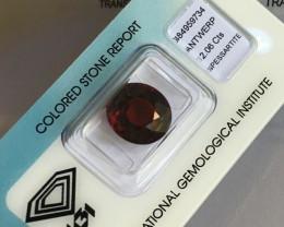 12.06ct Spessartine Garnet DEEP Orange Red Oval Cut Rare IGI CERTIFIED Gem