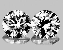 4.10 mm Round 2 pcs 0.60ct White Sapphire [VVS]