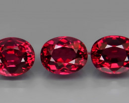 5.65 ct. Natural Earth Mined Cherry Pink Rhodolite Garnet Africa - 3 Pcs