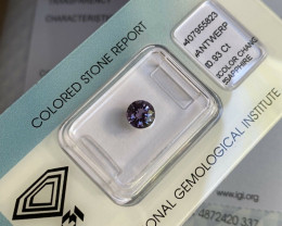 RARE Colour Change Sapphire Blue Purple Pink Round Cut 0.93ct IGI CERTIFIED
