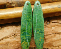 Natural african jade green jade earring (G2106)