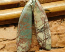 Long picasso jasper earring bead (G2108)