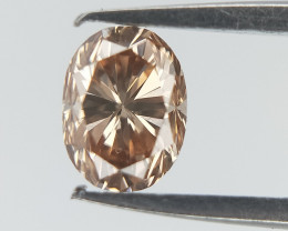 0.18 CT , Light Pinkinsh Brown DIamond , Oval Brilliant Cut