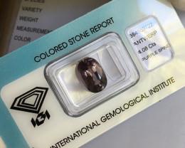 Spinel 4.08ct Pink Purple Untreated IGI CERTIFIED Oval Cut Loose Gem