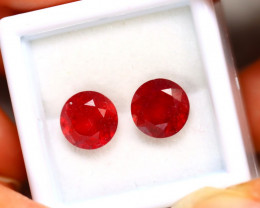 Ruby 6.38Ct 2Pcs Madagascar Blood Red Ruby ER211/A20