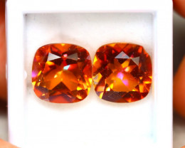 Topaz 11.00Ct 2Pcs Natural IF Vivid Orange Topaz ER215/A46