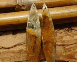 Yellow quartz earring pair bead (G2157)