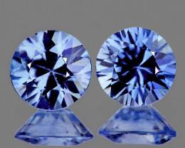 3.80 mm Round 2 pcs 0.54ct Light Ceylon Blue Sapphire [VVS]