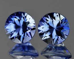 3.80 mm Round 2 pcs 0.52ct Light Ceylon Blue Sapphire [VVS]