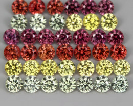 1.60 ct 2 mm 40p Diamond Cut Natural Pinkish Red Yell Green Org Sapphire