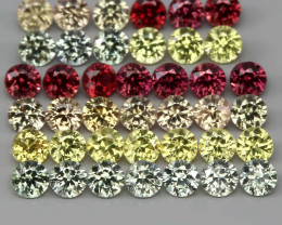 1.55 Ct 2 mm 40 pcs Diamond Cut 100% Natural Red Pad Yell Green Sapphire