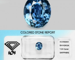 1.64 Cts IGI Ceritfied Natural Blue Sapphire Loose Gemstone