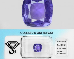 Violet Sapphire 2.06 Cts Unheated IGI Certified Natural Loose Gemstone