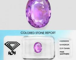 2.24 Cts IGI Ceritfied Natural Pink Sapphire Loose Gemstone