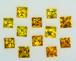 3.86 Cts Natural Yellow Sapphire Square 4mm Princess Parcel Thailand