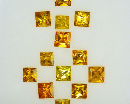 3.52 Cts Natural Yellow Sapphire Square 3mm Princess Parcel Thailand