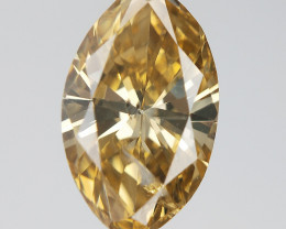 0.91 CT , Marquise Brilliant cut , Champagne Natural Diamond , DGLA certifi