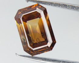 0.81 CTS , Orangy Yellow Diamond , Emerald Cut Diamond