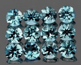 2.70 mm Round 12 pcs 0.91ct Blue Aquamarine [VVS]