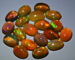 19pcs Lot 10.10 ct Natural Play-of-Color Crystal Opal, Ethiopia