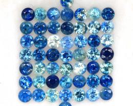 4.05 ct. 2.5 MM.DIAMOND CUT MULTI COLOR SAPPHIRE NATURAL GEMSTONE 51PCS.