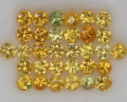 4.04ct.3MM.DIAMOND CUT GOLDEN YELLOW SAPPHIRE NATURAL GEMSTONE 32PCS.