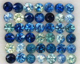 4.06ct.2.7MM.DIAMOND CUT MULTI COLOR SAPPHIRE NATURAL GEMSTONE 42PCS.